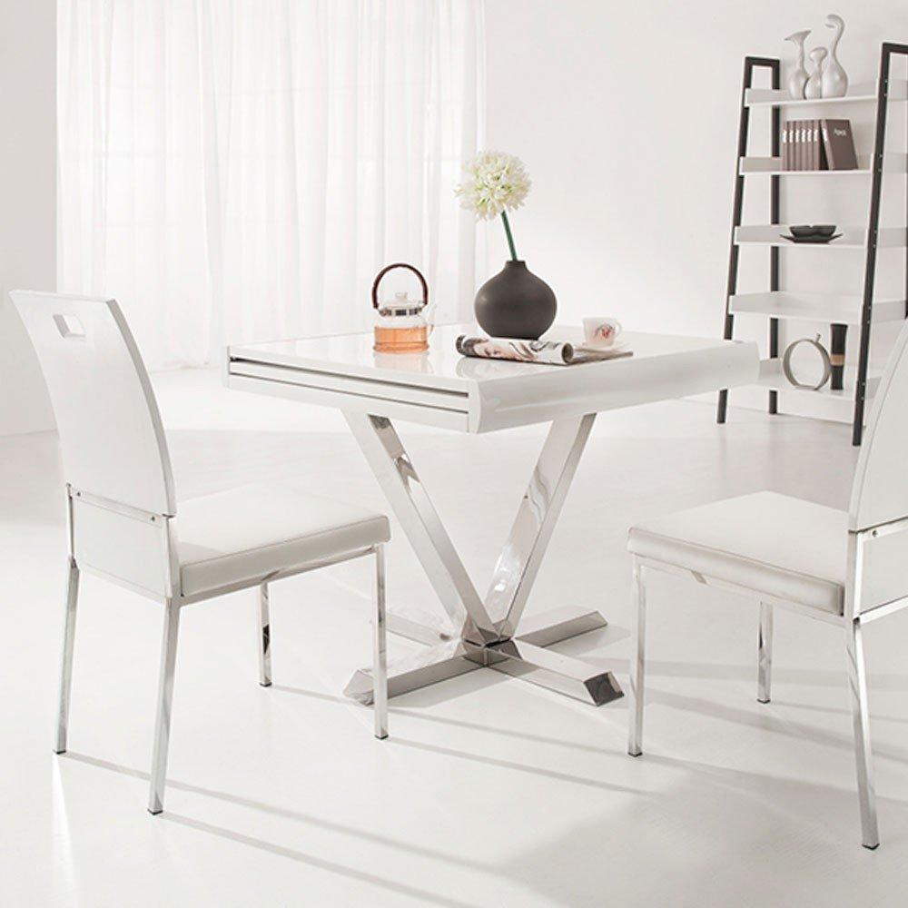Table laque blanc extensible maison design for Table carree extensible blanc laque