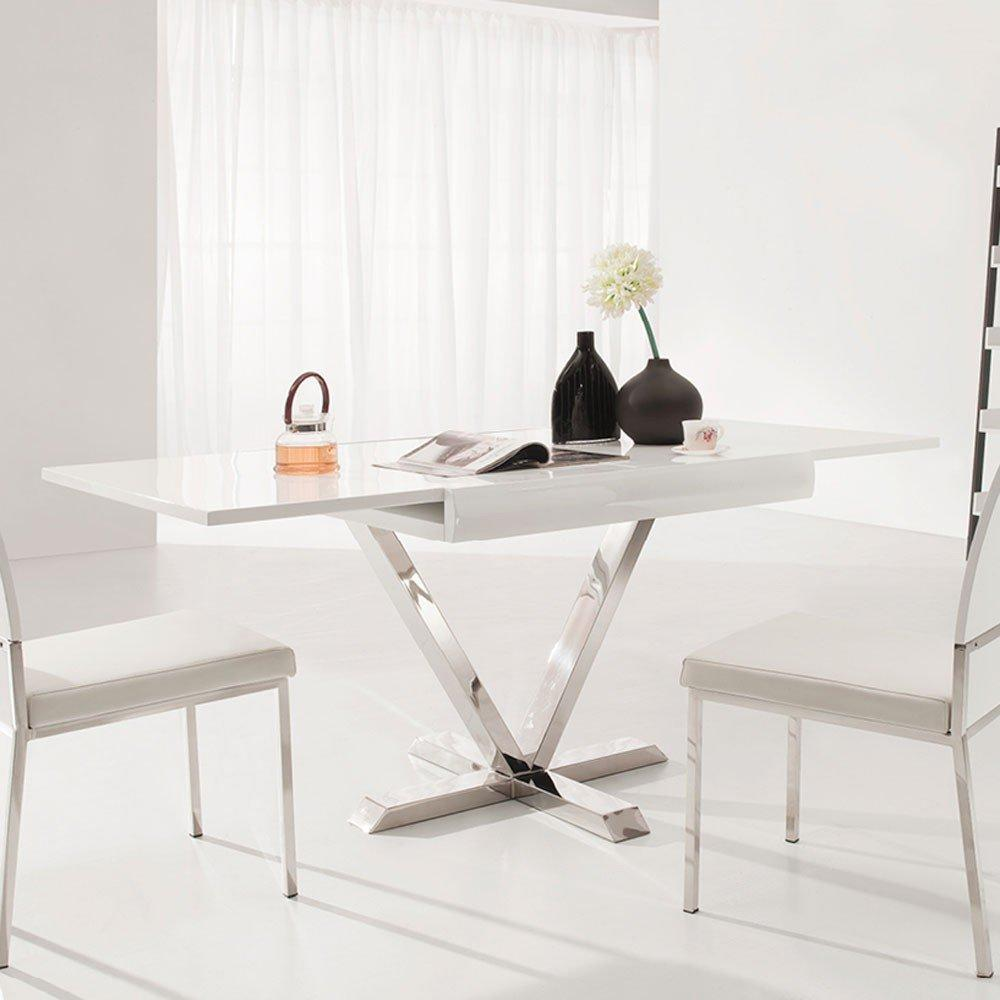 Table blanche extensible maison design for Table extensible 3 suisses