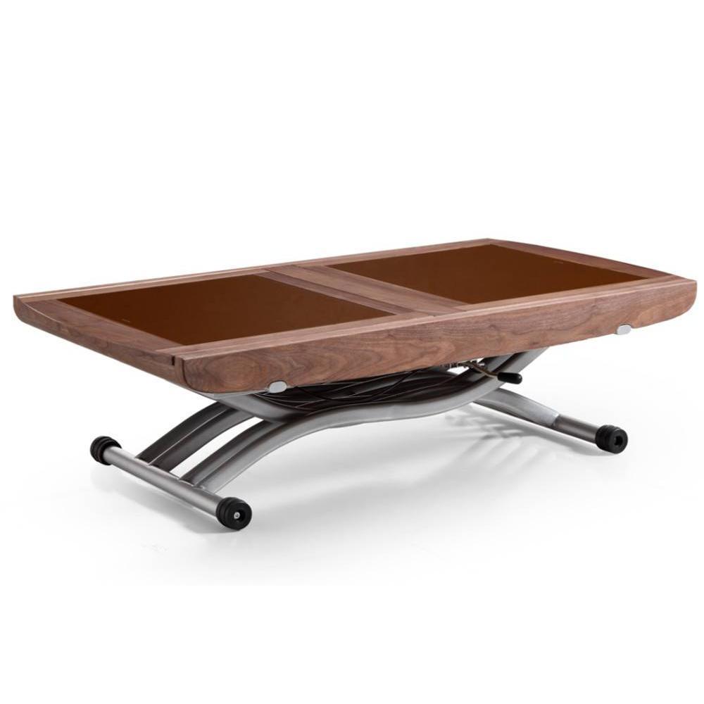 Table relevable LIFT GLASS noyer verre marron extensible en table repas 8 couverts