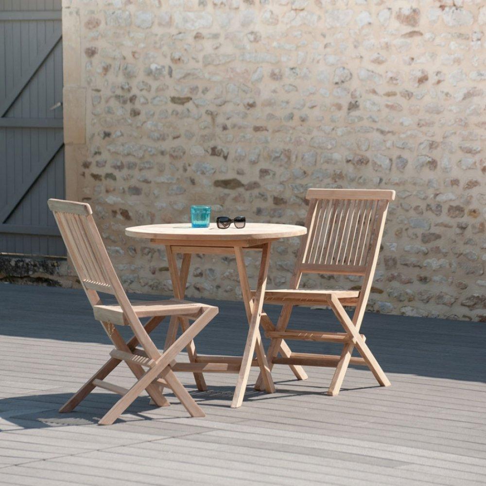 Tables Tables Et Chaises Table Ronde Pliante De Jardin 80 80 Cm En Teck