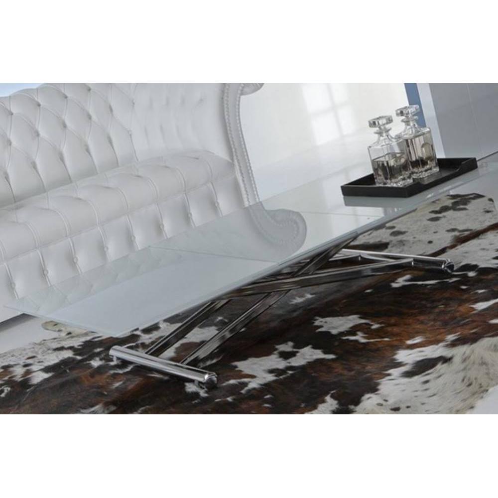 Tables relevables tables et chaises lift cristal table basse relevable exte - Table basse en verre blanc ...