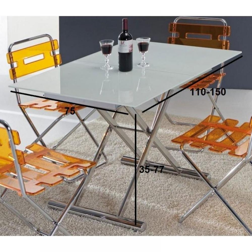 Table basse en verre extensible - Table basse blanc verre ...