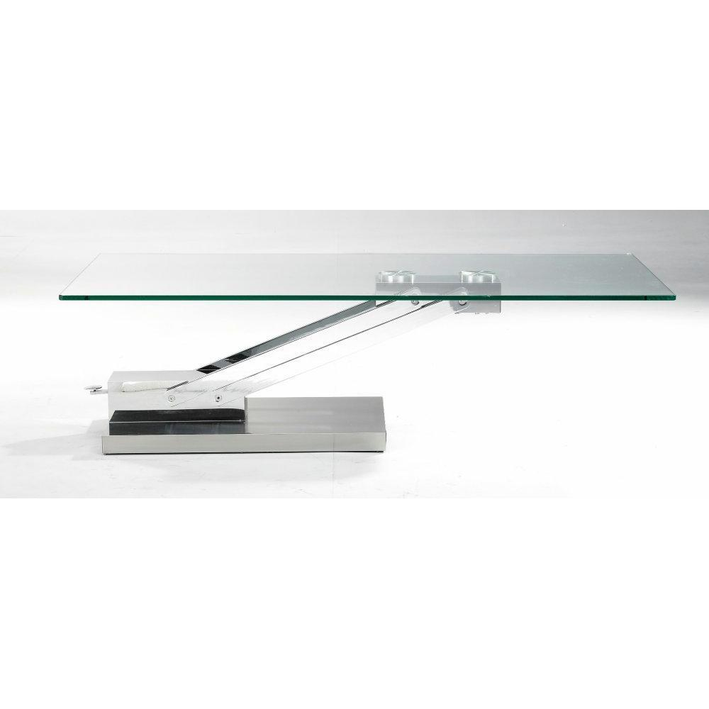 Table basse relevable en verre transparent - Table relevable en verre ...