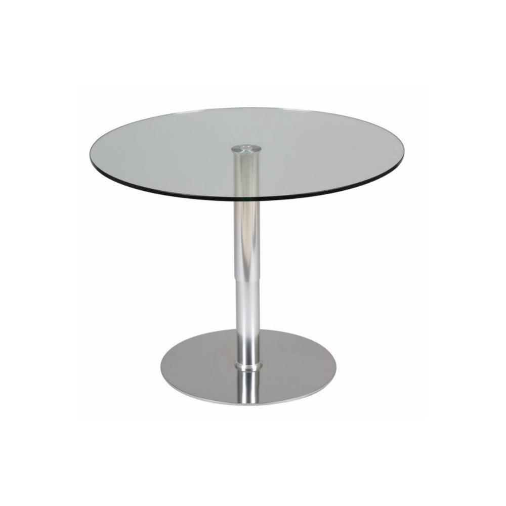 tables tables et chaises table relevable ronde scion en verre transparent pi tement acier bross. Black Bedroom Furniture Sets. Home Design Ideas