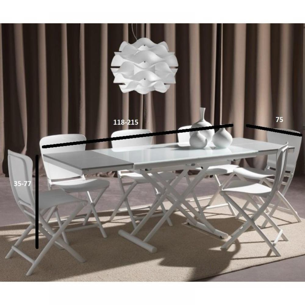 Tables relevables tables et chaises table basse relevable extensible happening blanc pi tement - Tables relevables extensibles ...