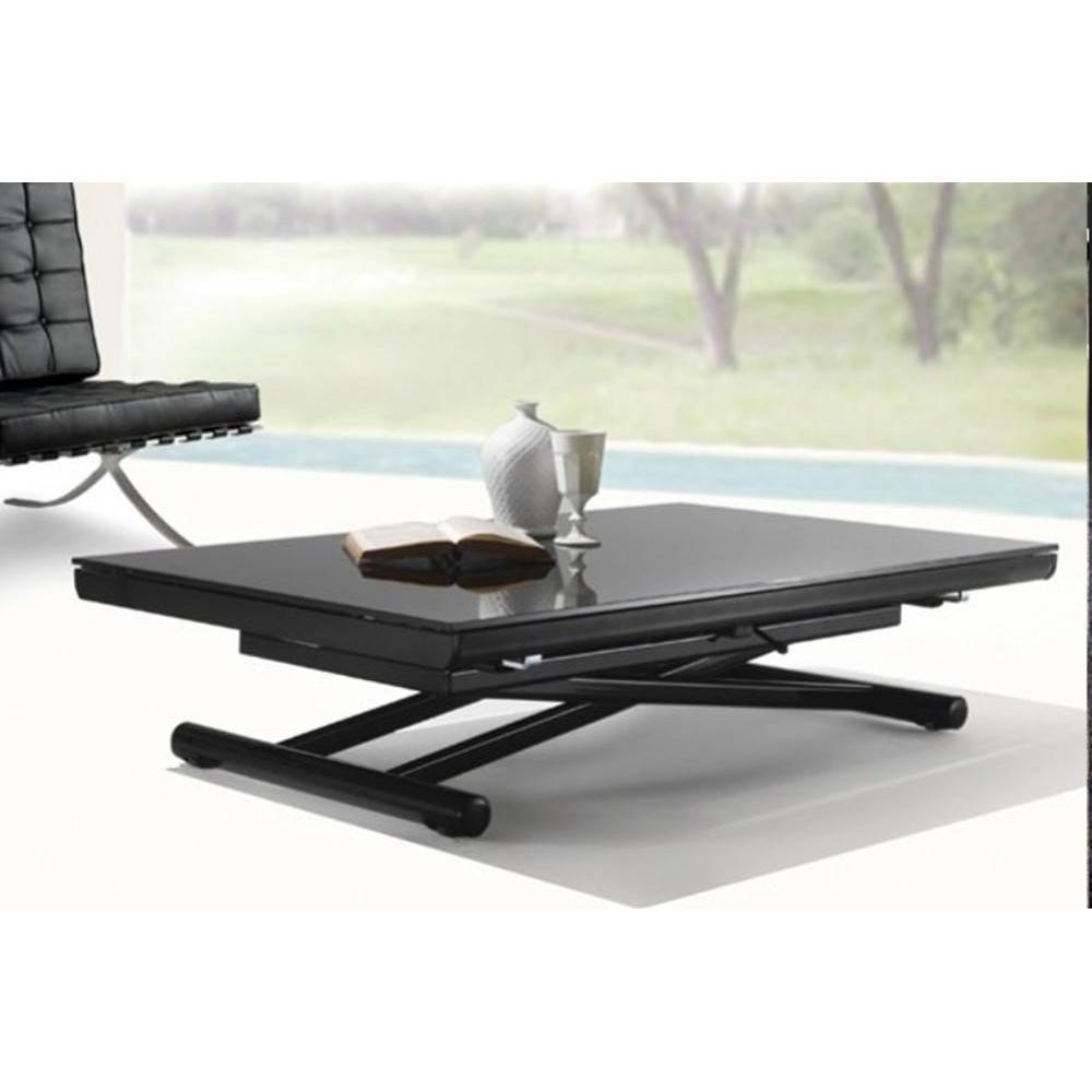 Tables relevables tables et chaises table basse for Table verre noir extensible