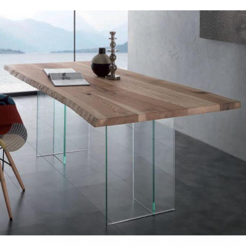 Tables repas, tables et chaises, Table repas BIO GLASS en bois massif, piétem