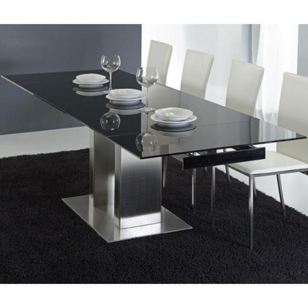 Table verre noir extensible for Table verre noir extensible