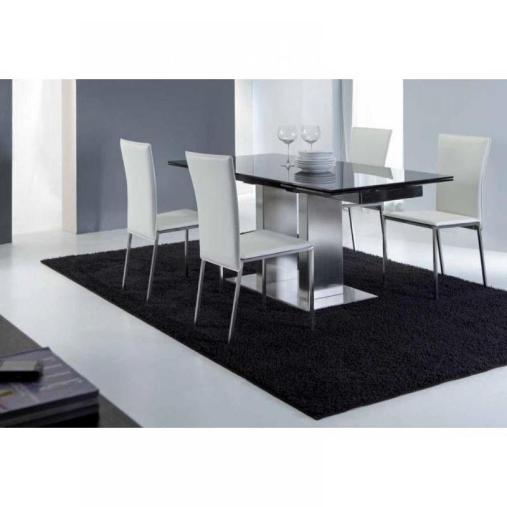 Tables repas tables et chaises table repas extensible for Table verre noir extensible