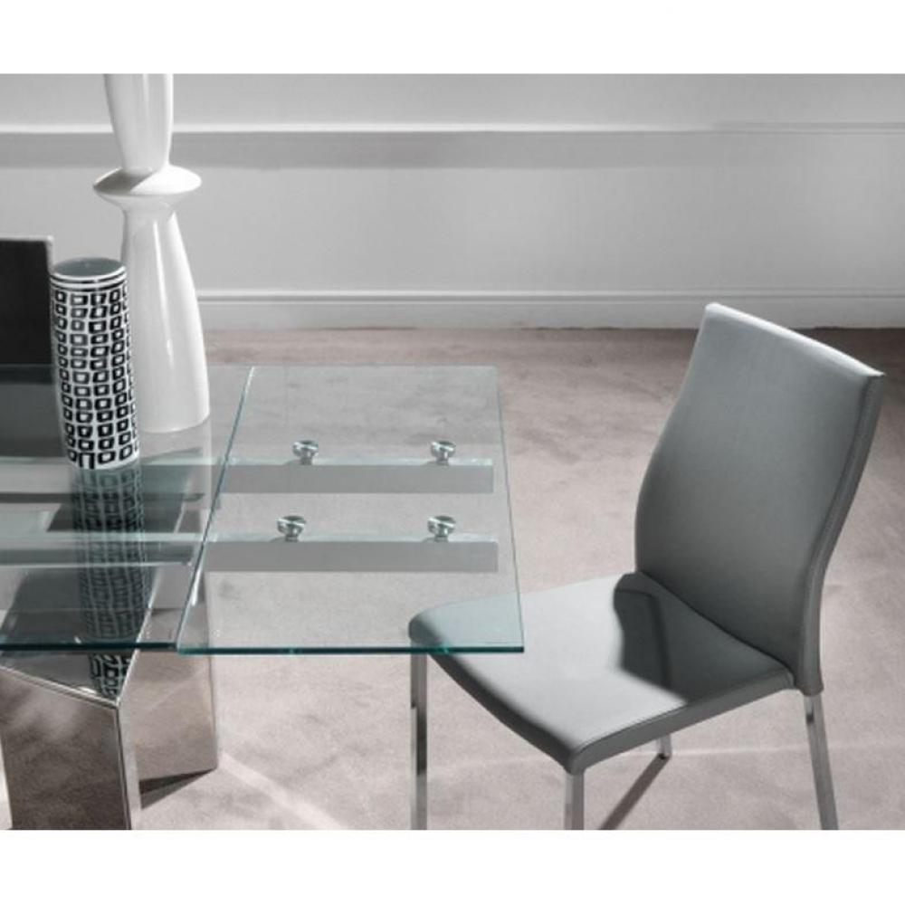 tables repas tables et chaises table repas extensible en verre king pi tement en acier chrom. Black Bedroom Furniture Sets. Home Design Ideas