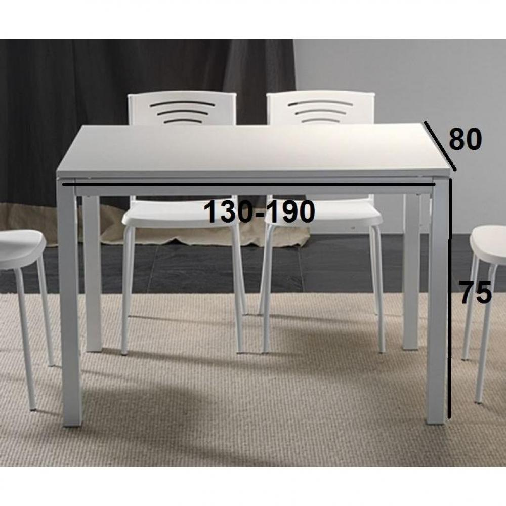 table repas extensible majestic 130 x 80 cm blanche ebay. Black Bedroom Furniture Sets. Home Design Ideas