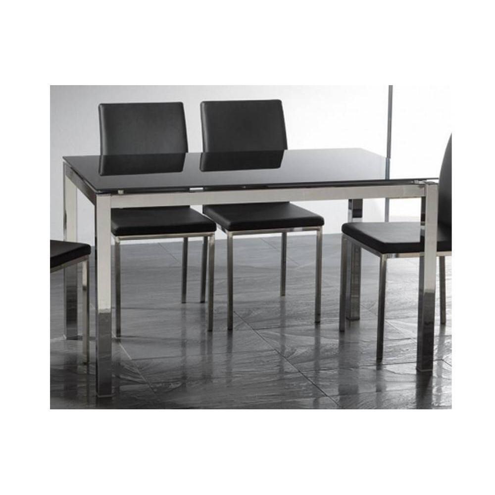 Table repas extensible majestic 130 x 80 cm en verre noir for Table verre noir extensible