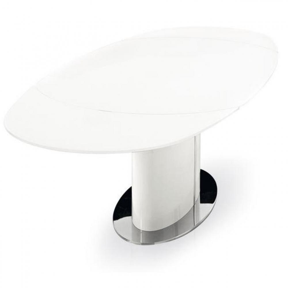 Table verre ovale extensible for Table verre blanc extensible