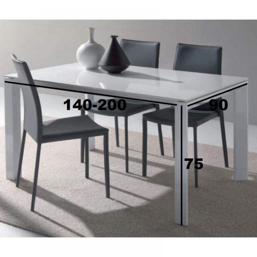 tables repas tables et chaises table repas extensible sliver en verre blanc 140 x 90 cm. Black Bedroom Furniture Sets. Home Design Ideas