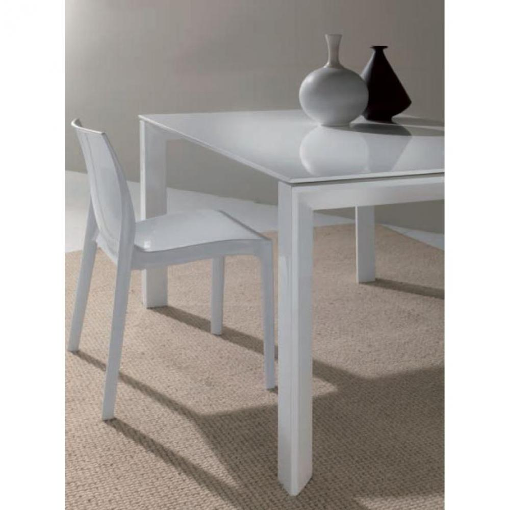 Tables tables et chaises table repas extensible sliver for Table verre blanc extensible