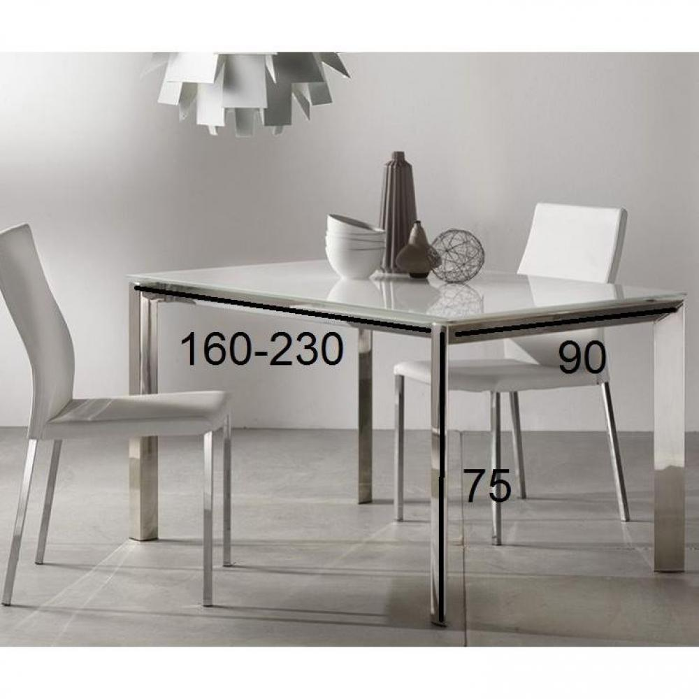 Table repas extensible titanium 160 x 90 cm verre blanc et acier chrom ebay - Table extensible verre blanc ...