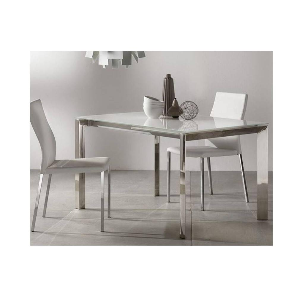 tables repas tables et chaises table repas extensible titanium 130 x 80 cm verre blanc et. Black Bedroom Furniture Sets. Home Design Ideas