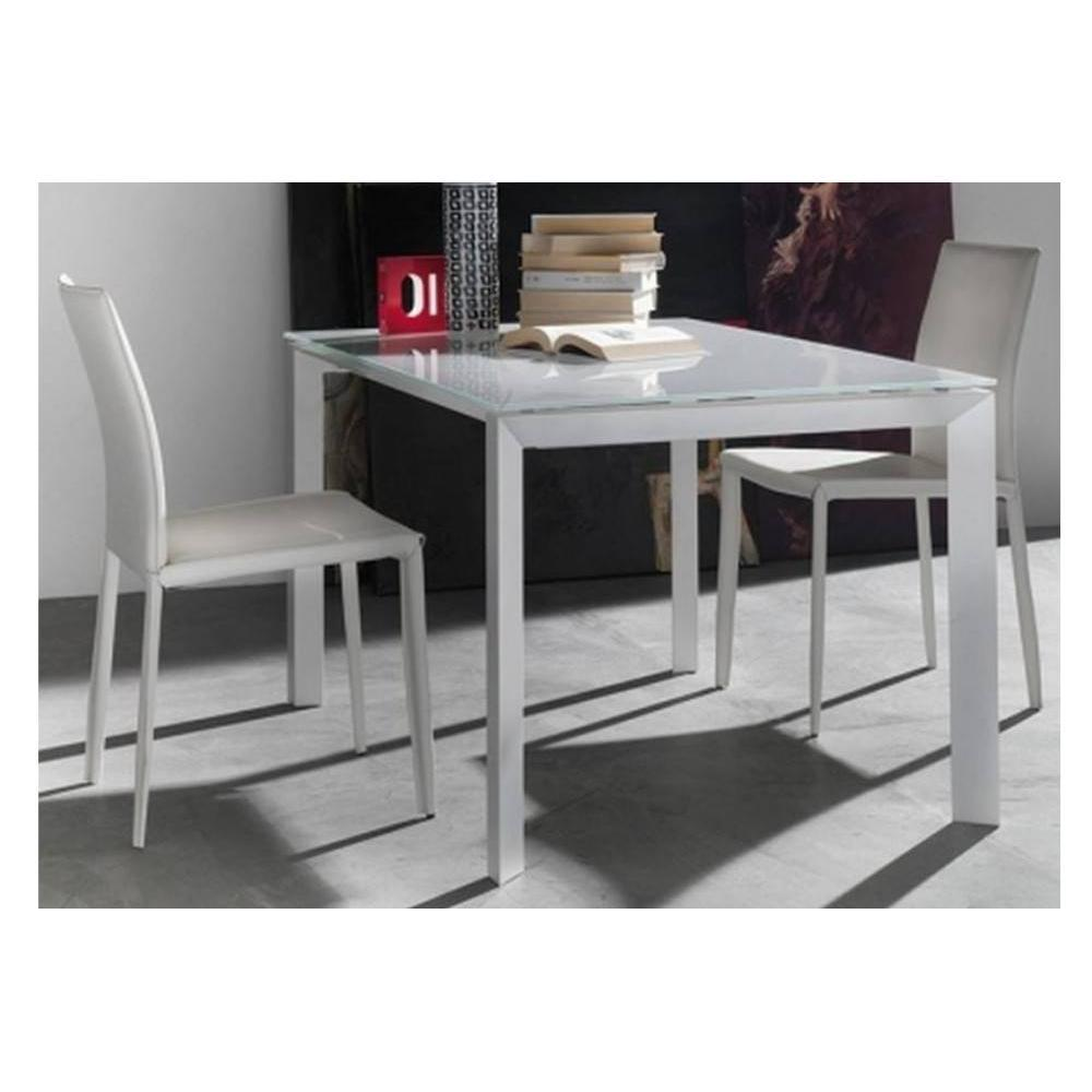 tables repas tables et chaises table repas extensible titanium 160 x 90 cm verre extra blanc. Black Bedroom Furniture Sets. Home Design Ideas