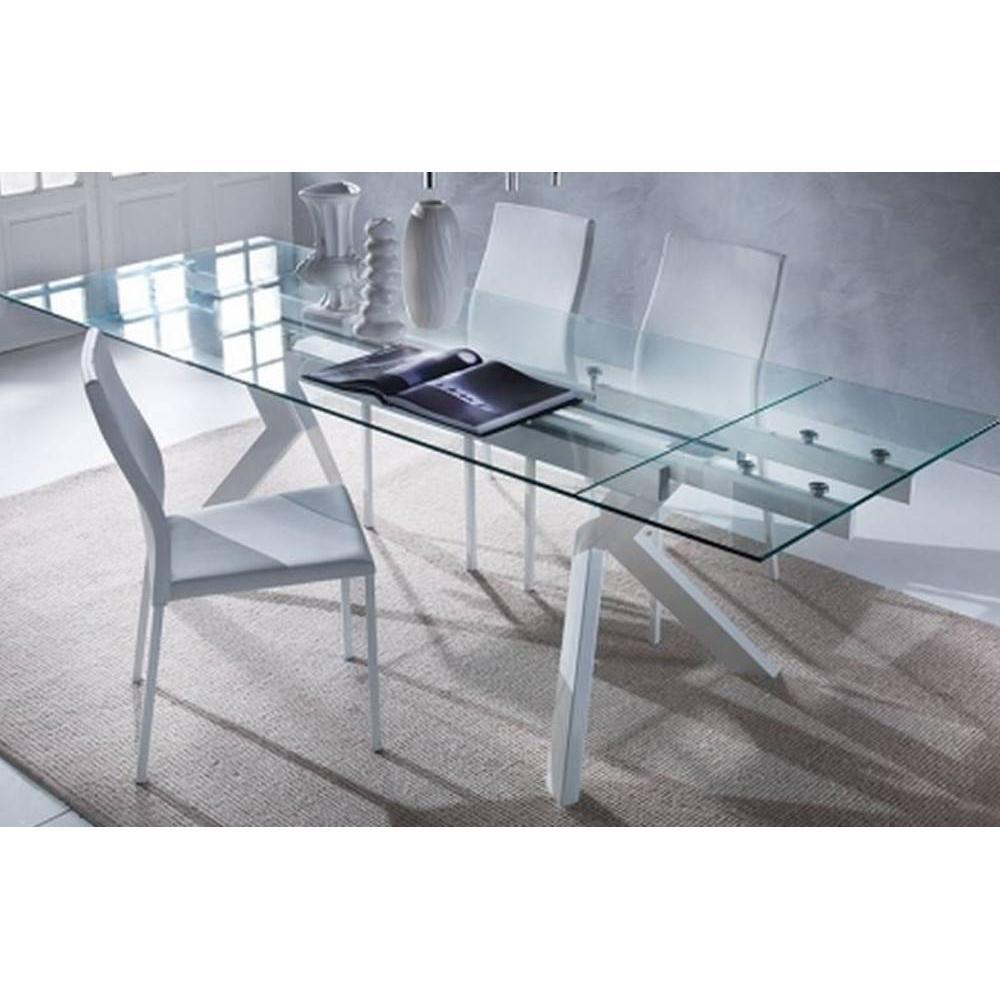 Tables repas tables et chaises table repas extensible en for Table verre blanc extensible