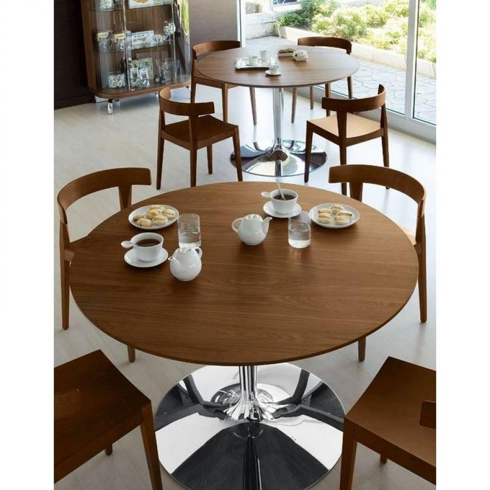 tables tables et chaises calligaris table repas ronde planet 120x120 noyer pi tement acier chrom. Black Bedroom Furniture Sets. Home Design Ideas
