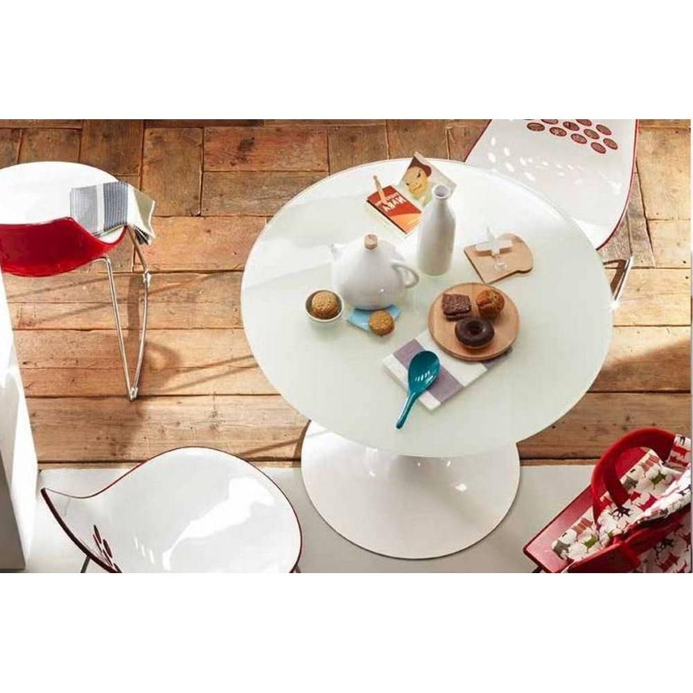 tables tables et chaises calligaris table repas ronde planet 120x120 en verre blanc pi tement. Black Bedroom Furniture Sets. Home Design Ideas