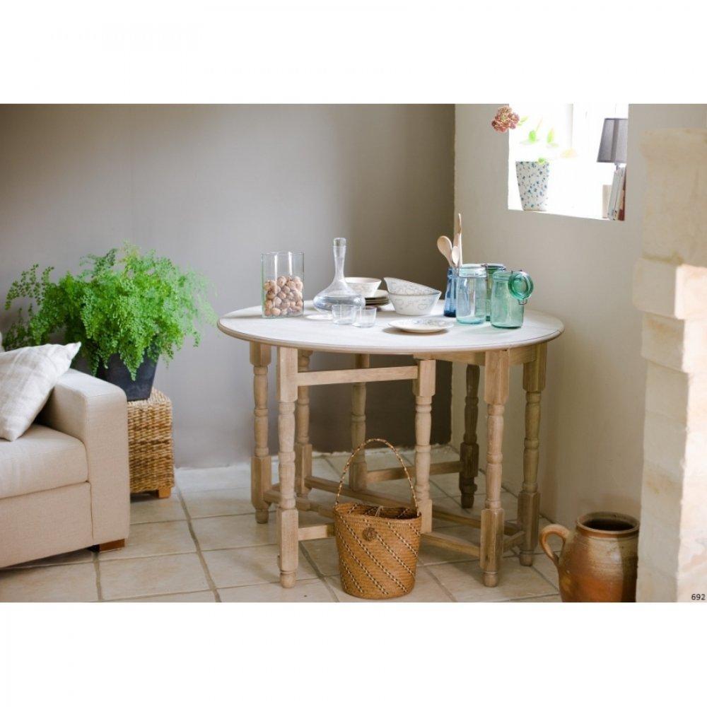 tables tables et chaises table ronde pliante 115 x 115 cm romane en bois de paulownia style. Black Bedroom Furniture Sets. Home Design Ideas