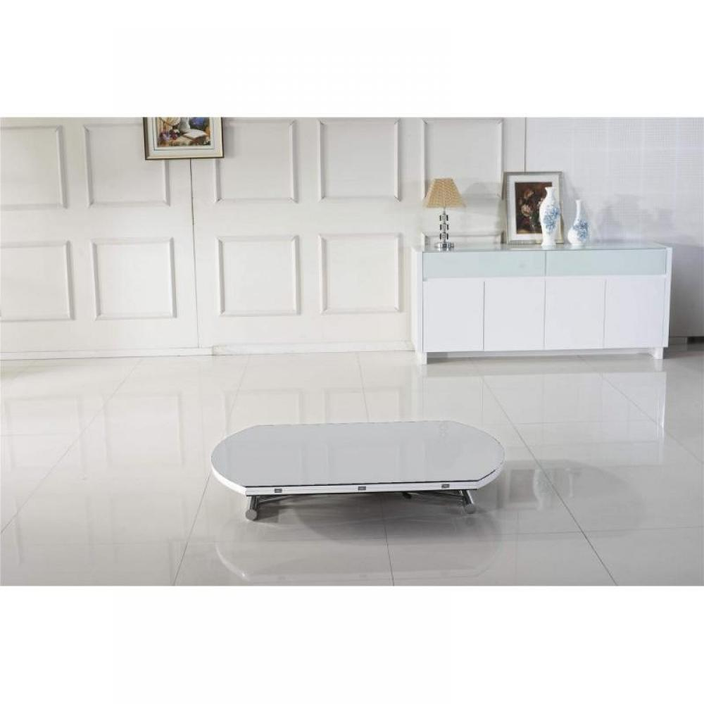 tables relevables tables et chaises table basse ronde relevable et extensible planet blanche. Black Bedroom Furniture Sets. Home Design Ideas