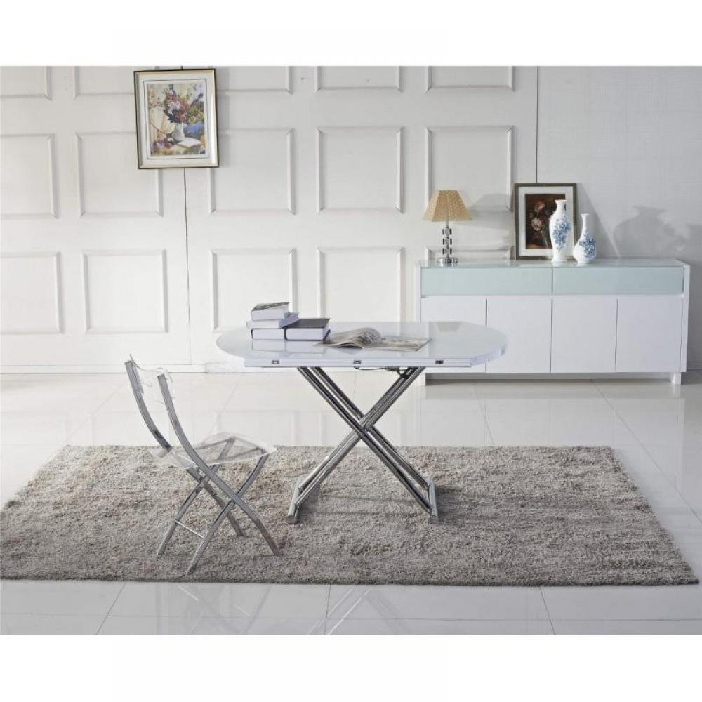 Tables relevables meubles et rangements table basse ronde relevable et extensible planet - Table ronde extensible blanche ...