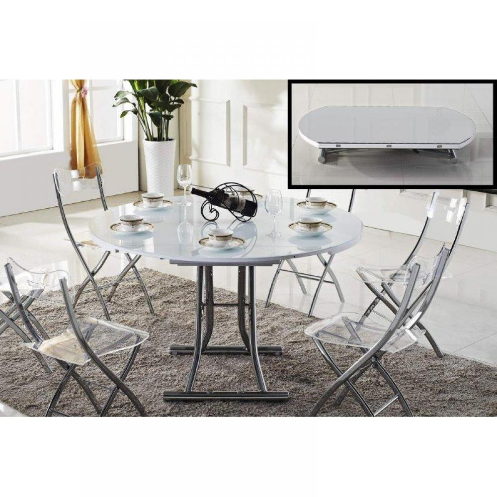 Tables relevables tables et chaises table basse ronde relevable et extensible planet blanche - Table ronde extensible blanche ...
