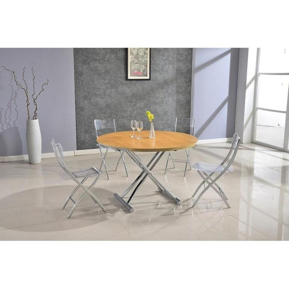 Tables relevables tables et chaises table basse ronde relevable et extensible planet ch ne Table basse relevable ronde
