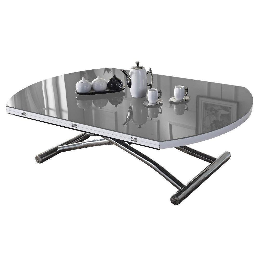 Table basse ronde relevable et extensible PLANET gris clair