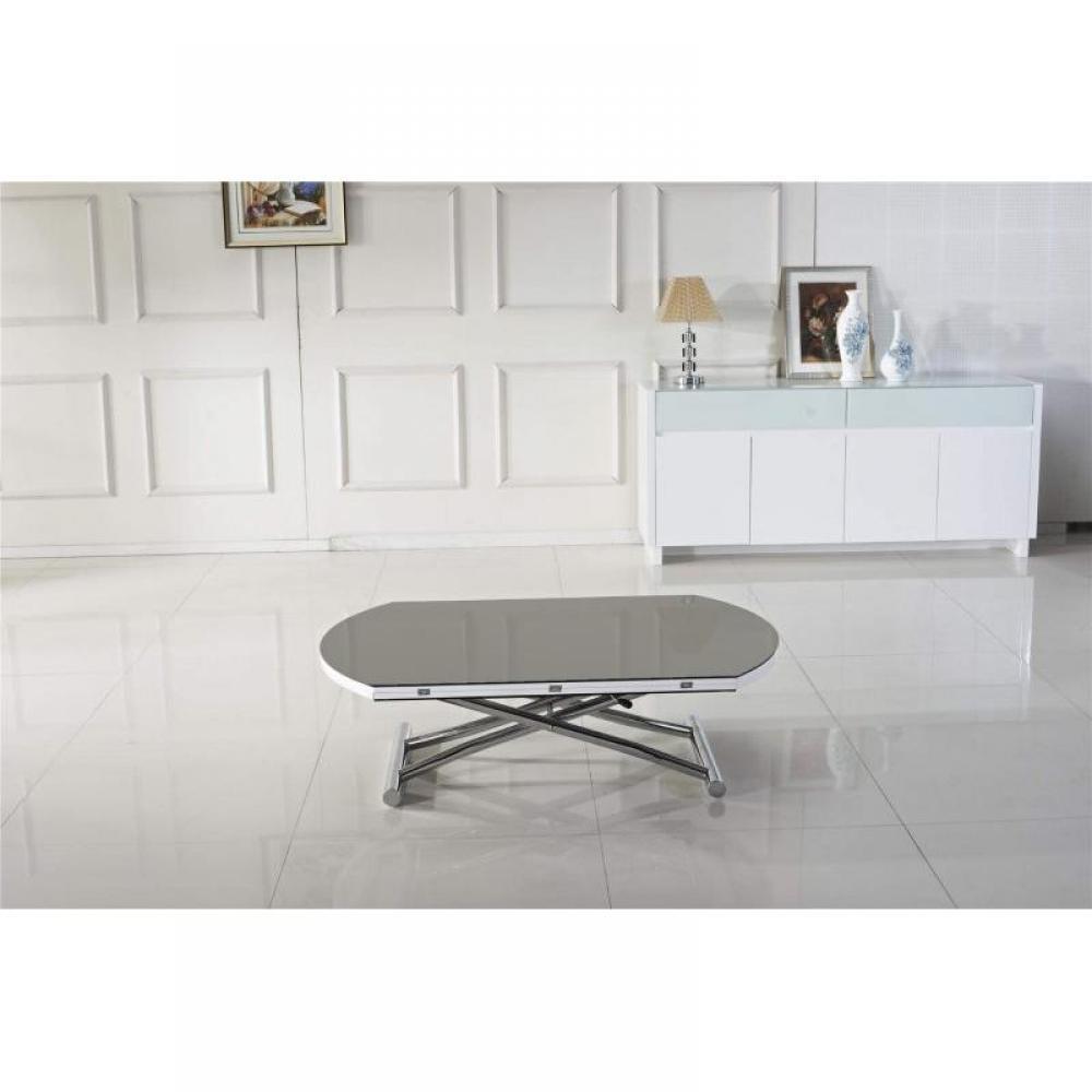 tables relevables tables et chaises table basse ronde relevable et extensible planet gris. Black Bedroom Furniture Sets. Home Design Ideas