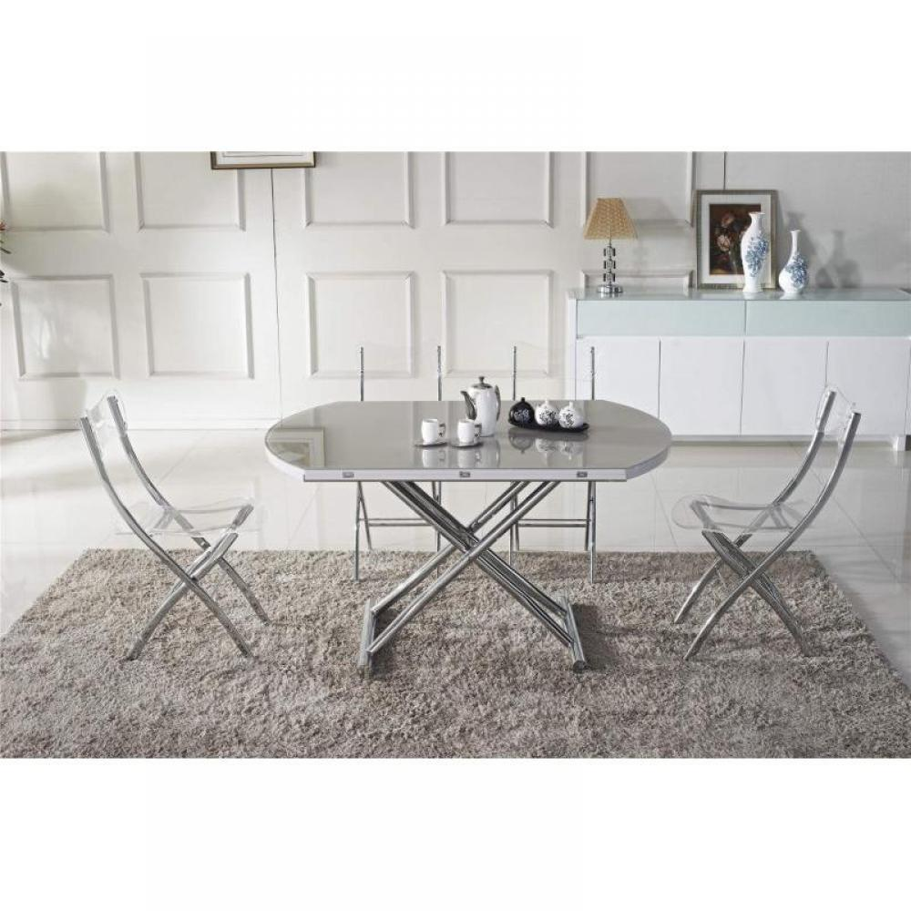 tables relevables tables et chaises table basse ronde relevable et extensible planet gris. Black Bedroom Furniture Sets. Home Design Ideas