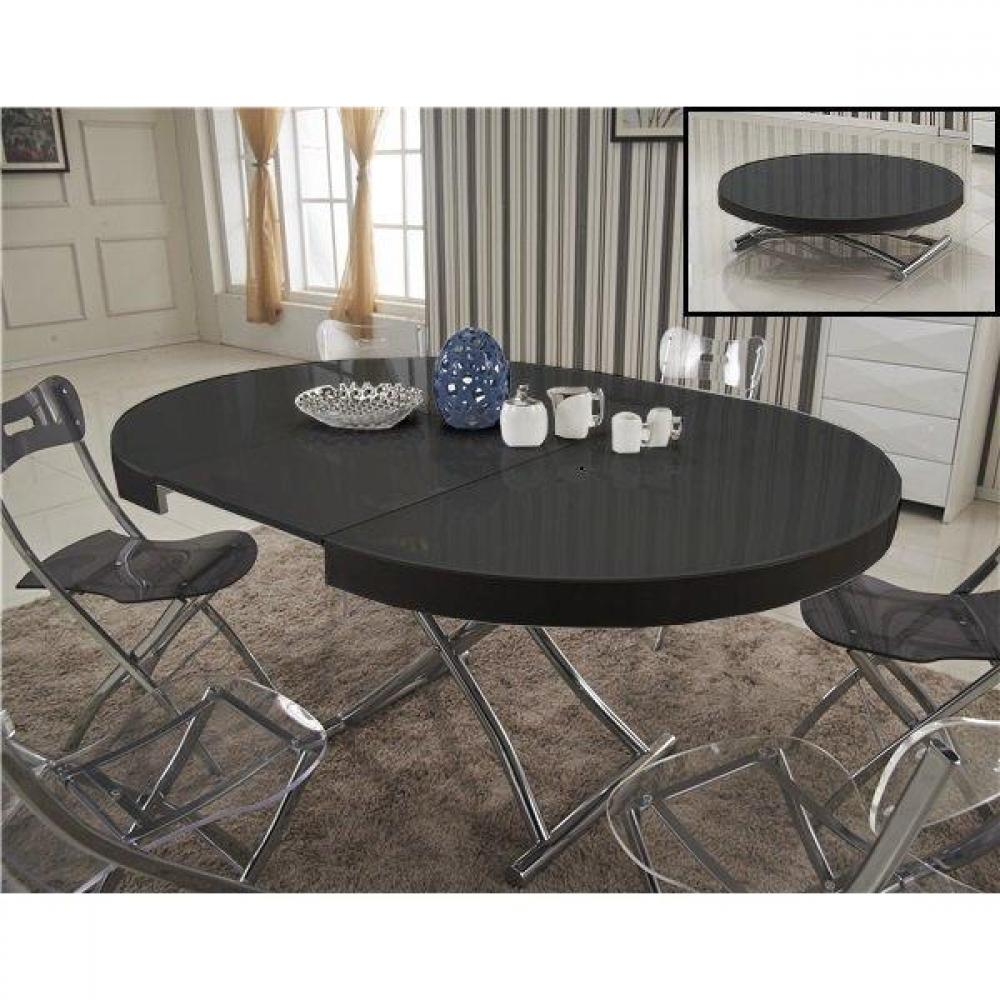 Table extensible noire maison design - Tables relevables extensibles ...