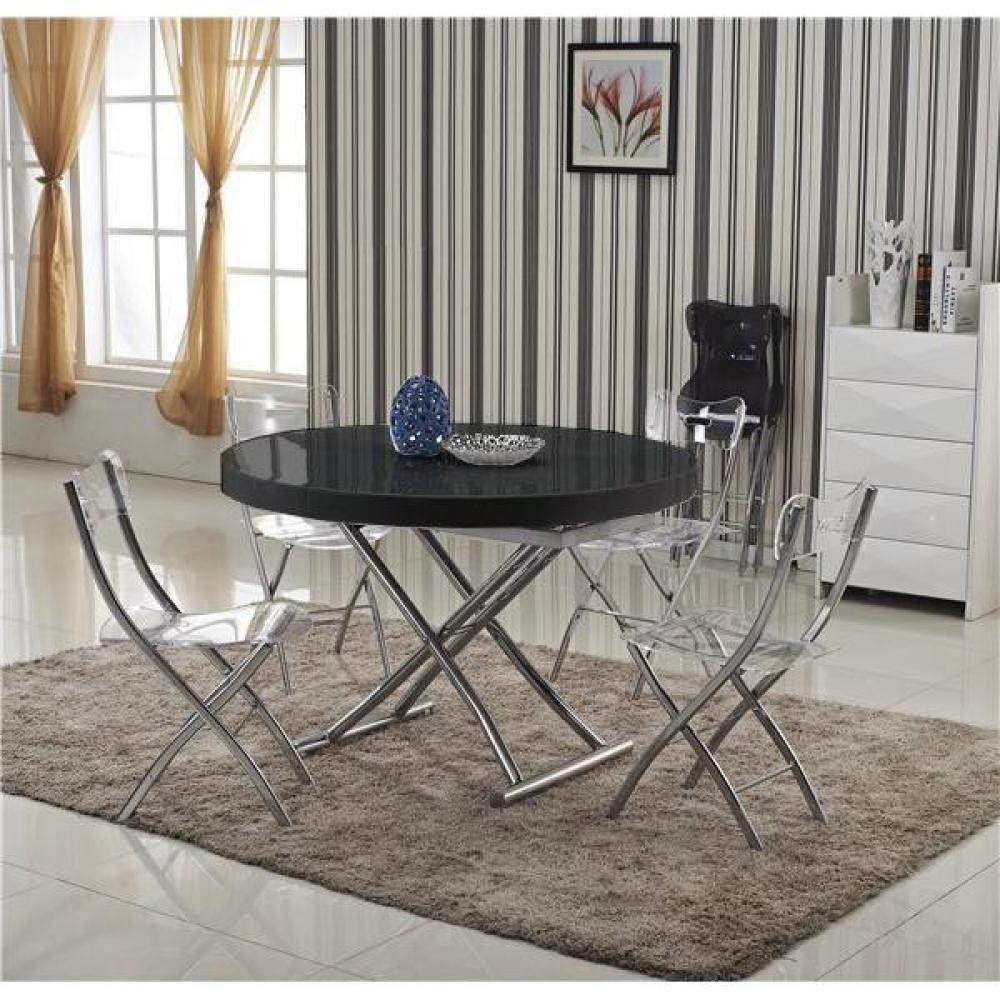 tables relevables tables et chaises table basse ronde relevable et extensible saturna noire. Black Bedroom Furniture Sets. Home Design Ideas