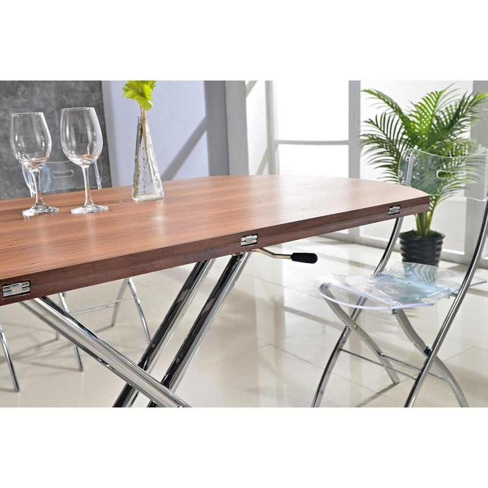 Tables relevables tables et chaises table basse ronde relevable et extensible planet noyer - Tables relevables extensibles ...
