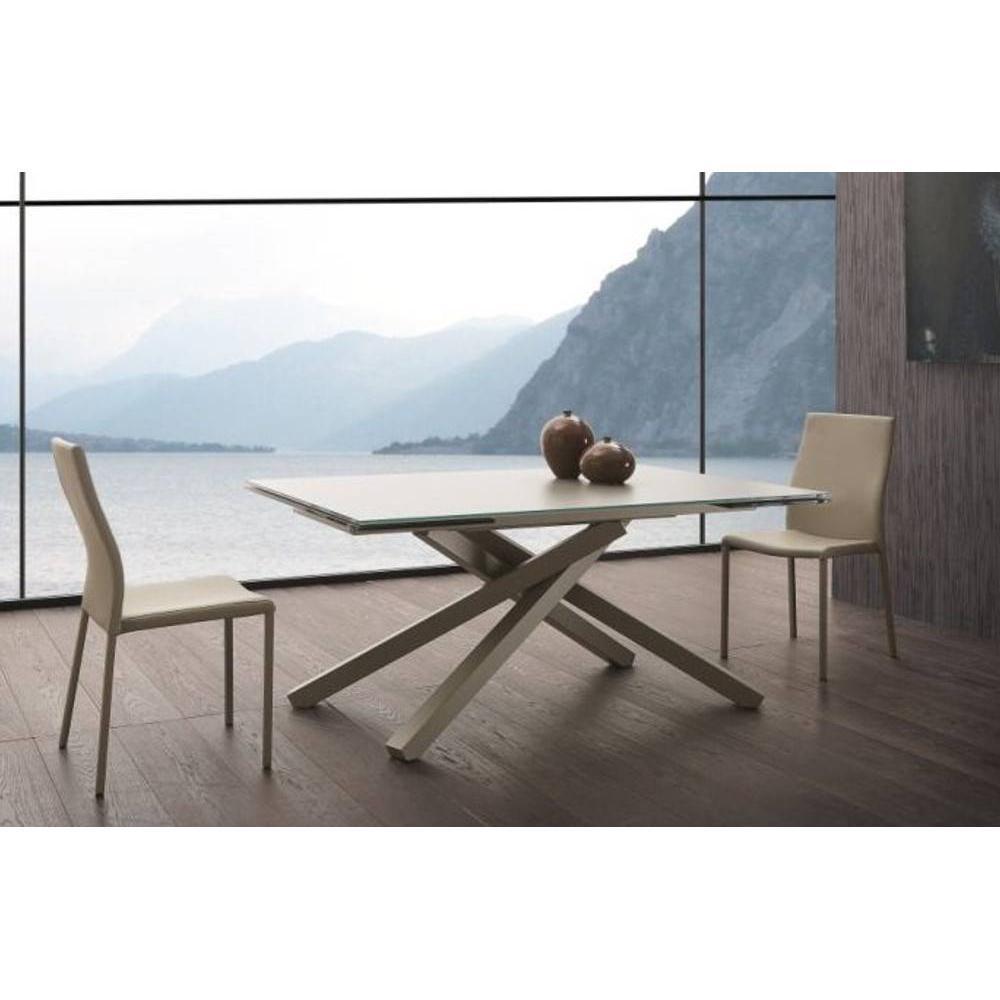 Tables tables et chaises table repas infinity en verre taupe 200 cm inside75 - Table en verre et chaises ...