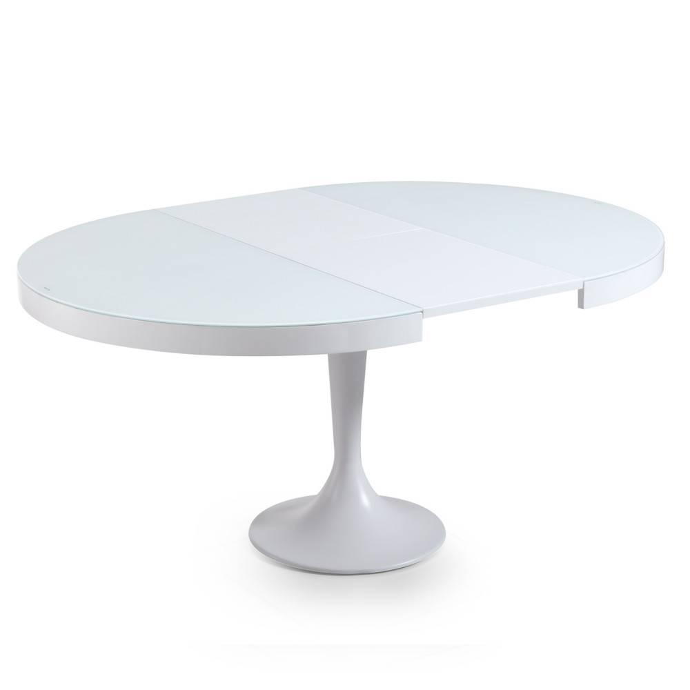 Table extensible ronde design for Table salle a manger ronde blanche extensible