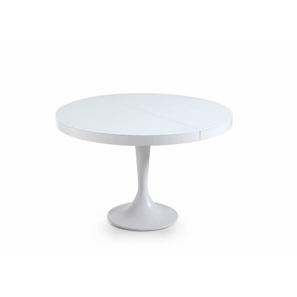 Buffets meubles et rangements table ronde extensible tulipe blanche for Meuble table ronde extensible