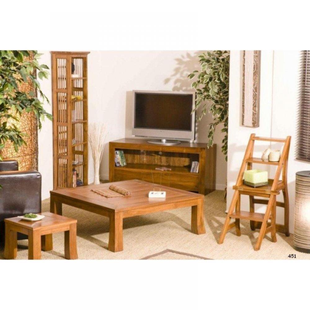 tables basses tables et chaises table basse design 100 100 en teck massif inside75. Black Bedroom Furniture Sets. Home Design Ideas