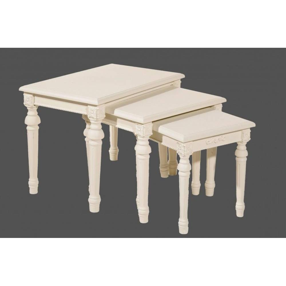 tables basses tables et chaises ensemble de 3 tables gigognes blanche louise style campagne. Black Bedroom Furniture Sets. Home Design Ideas