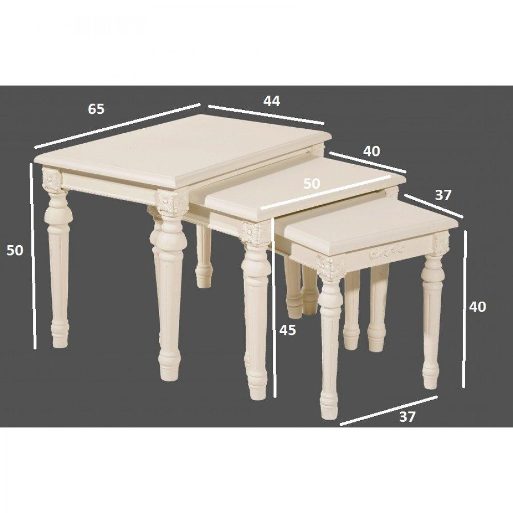 Tables basses tables et chaises ensemble de 3 tables gigognes blanche louis - Table basse gigogne blanche ...