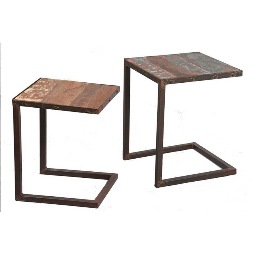 Tables gigognes tables et chaises lot de 2 tables - Table gigogne en bois ...