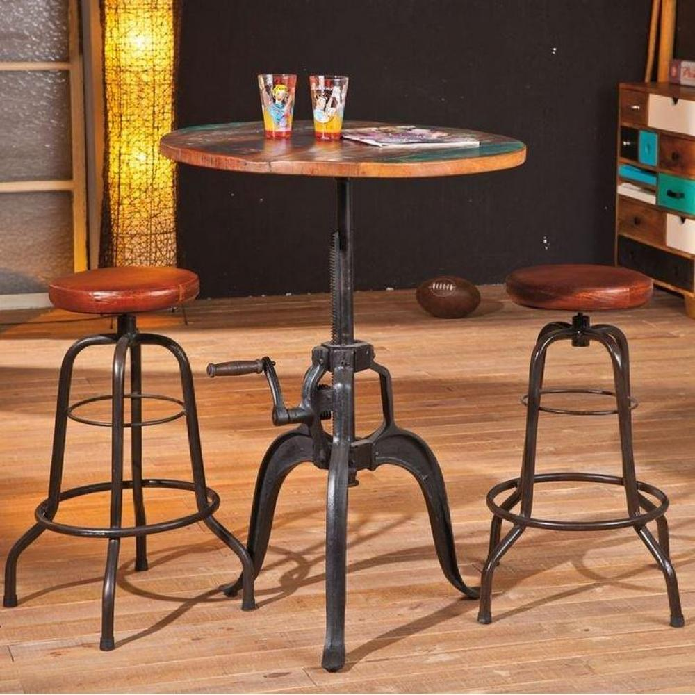 tabourets de bar tables et chaises tabouret de bar longo en cuir et acier inside75. Black Bedroom Furniture Sets. Home Design Ideas