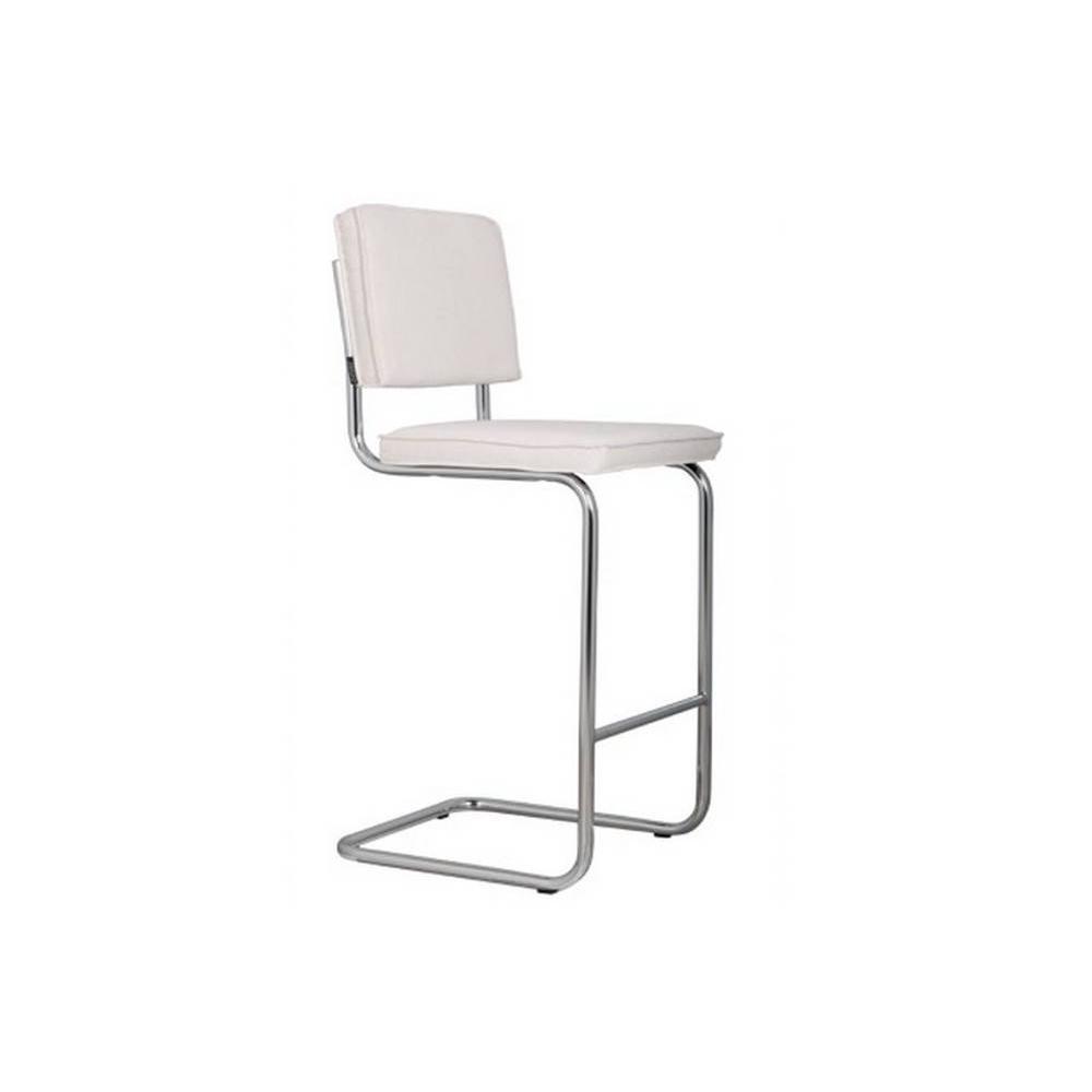chaises de bar tables et chaises zuiver chaise de bar ridge rib en velours coloris blanc. Black Bedroom Furniture Sets. Home Design Ideas