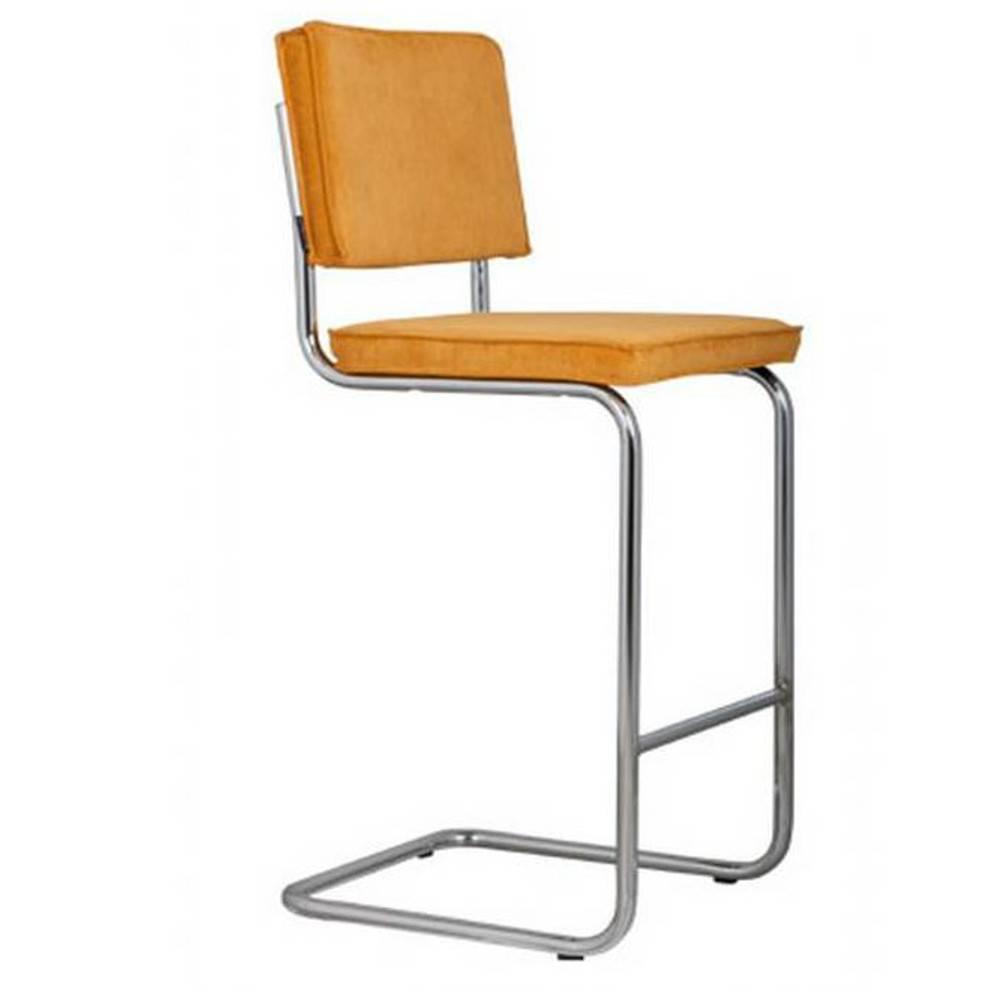 Chaises de bar tables et chaises zuiver chaise de bar ridge rib en velours coloris jaune for Chaise design bar