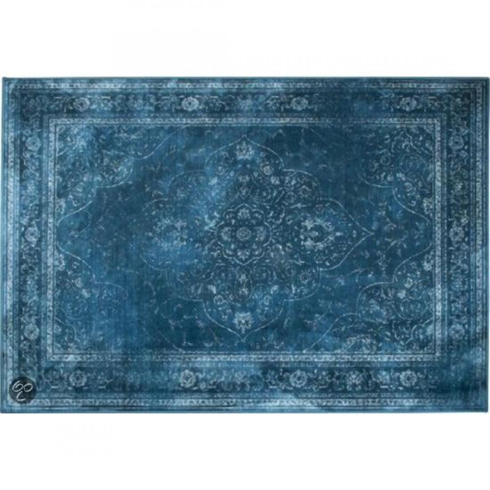 tapis de sol meubles et rangements dutchbone tapis style persan rugged bleu 200 x 300 cm