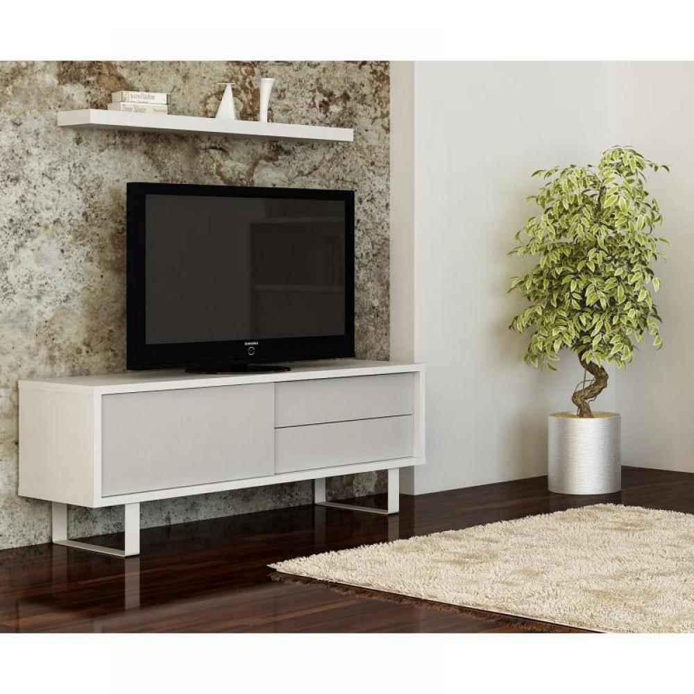 Meuble TV PETIT MEUBLE DE TV BLANC LAQUE  PETIT MEUBLE DE TV BLANC LAQUE Tro -> Petit Meuble Tv Design