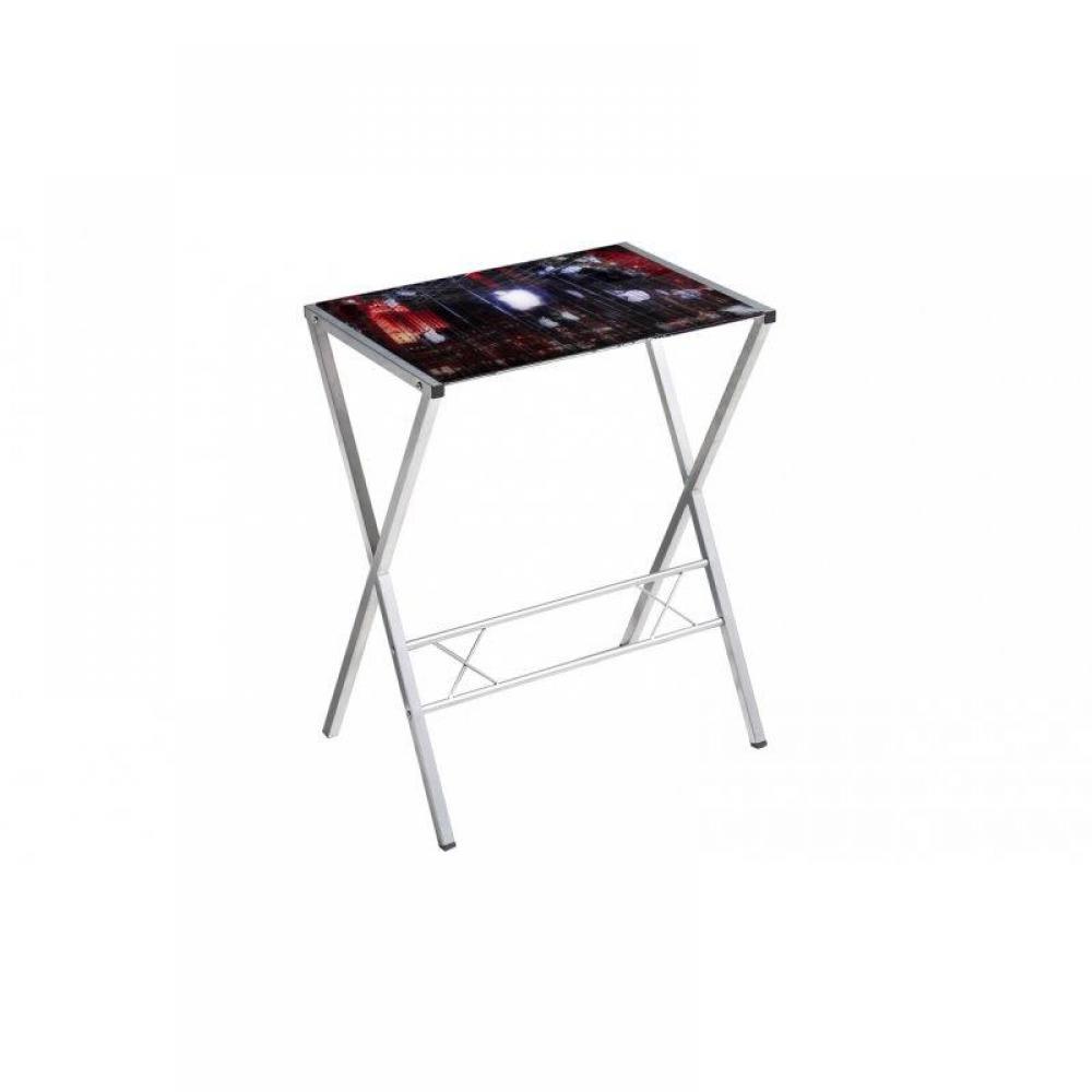 Bureaux meubles et rangements petit bureau town avec plateau en verre impri - Petit bureau en verre ...