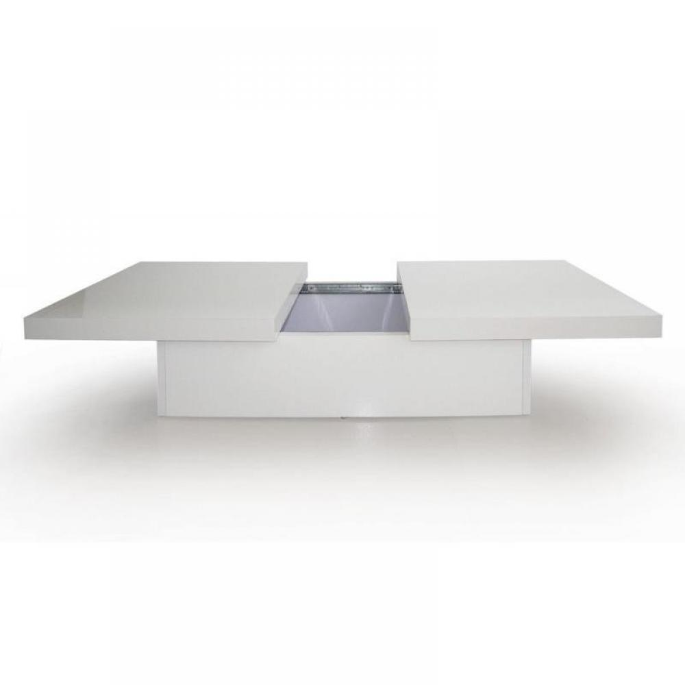 trendy table basse extensible 2 plateaux avec rangement laqu blanc. Black Bedroom Furniture Sets. Home Design Ideas